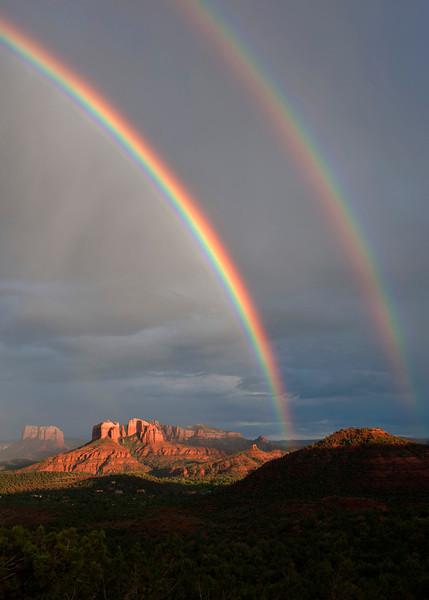 Double Rainbow over Cathedral Rock, Sedona, Arizona