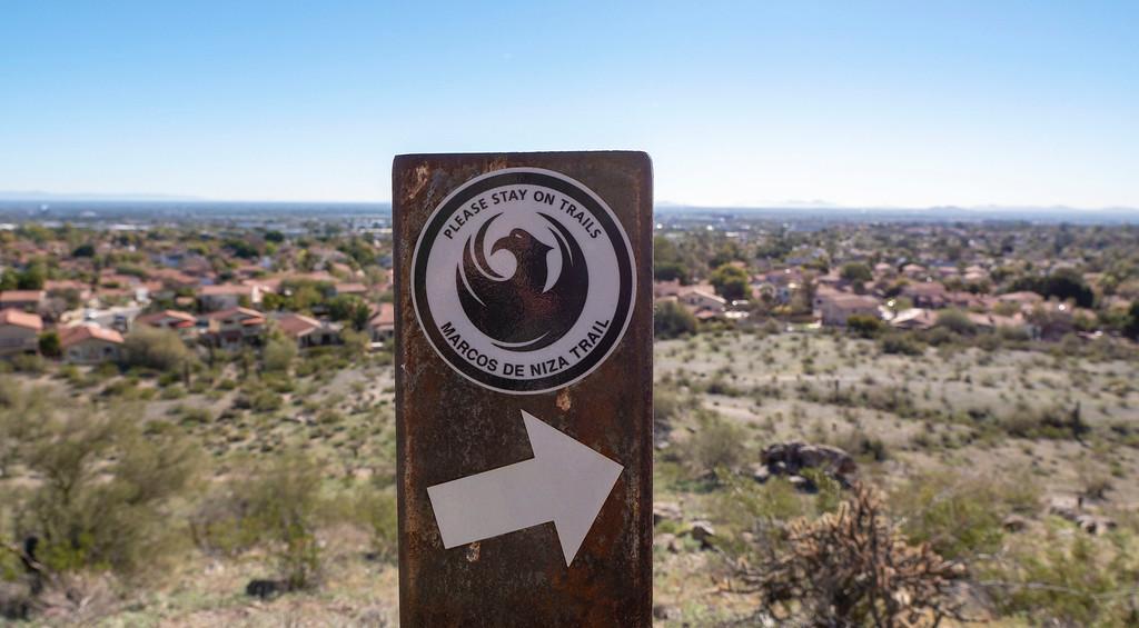 Things to do in Tempe AZ: South Mountain Marcos De Niza Trail Sign
