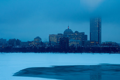 The Charles river half frozen