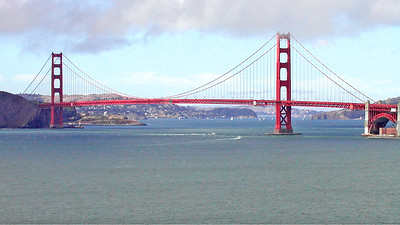 The Golden Gate Bridge, with Marin County beyond and San Francisco to the right
