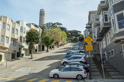 Steep road to Coit Tower - San Francisco, CA