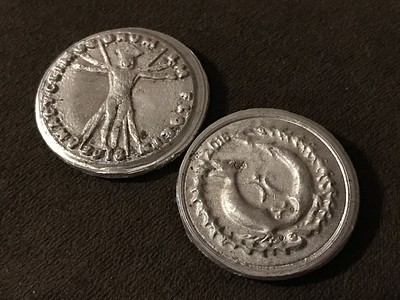 Aluminum coins hand made at Macchiarini Creative Design - San Francisco, CA