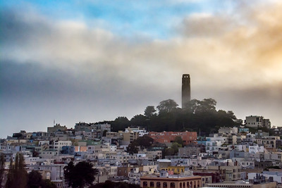 Coit Tower in the morning fog - San Francisco, CA