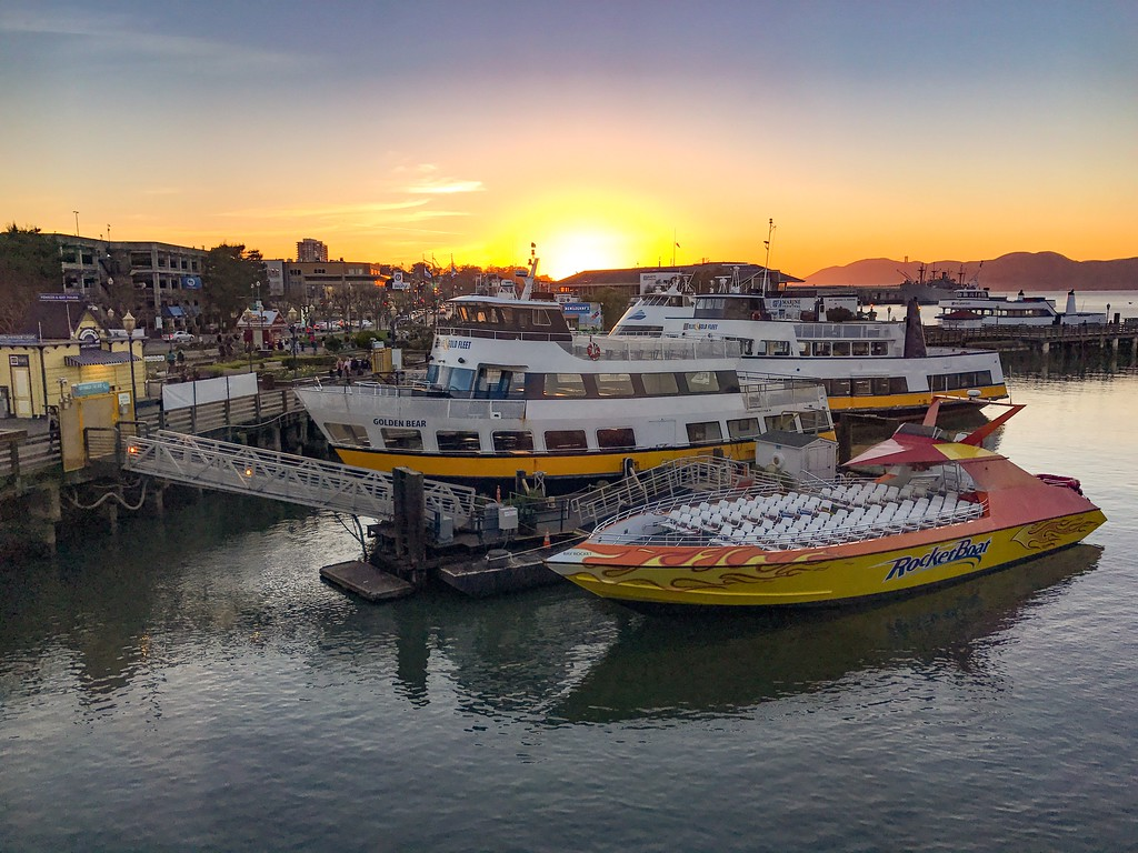 Sunset overlooking the Pier 39 marina in San Francisco California