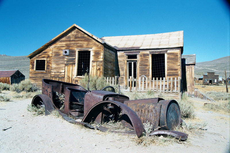 House and Rusty Car - Ghost Town of Bodie - California State Park