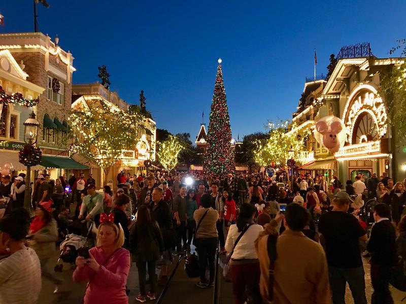Disneyland Main Street decorated for Christmas