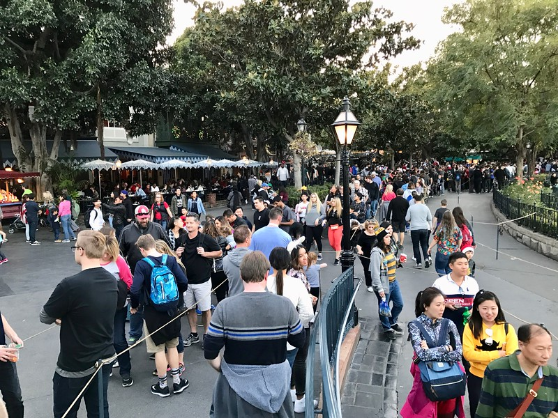 Line for Pirates of the Caribbean extending into New Orleans Square