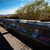 Lots of stickers along the guard rail overseeing mono lake