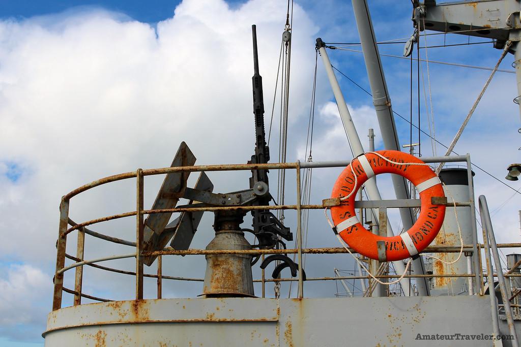 Air Aircraft Gun on the USS Red Oak Victory Ship - Richmond, California - Photo