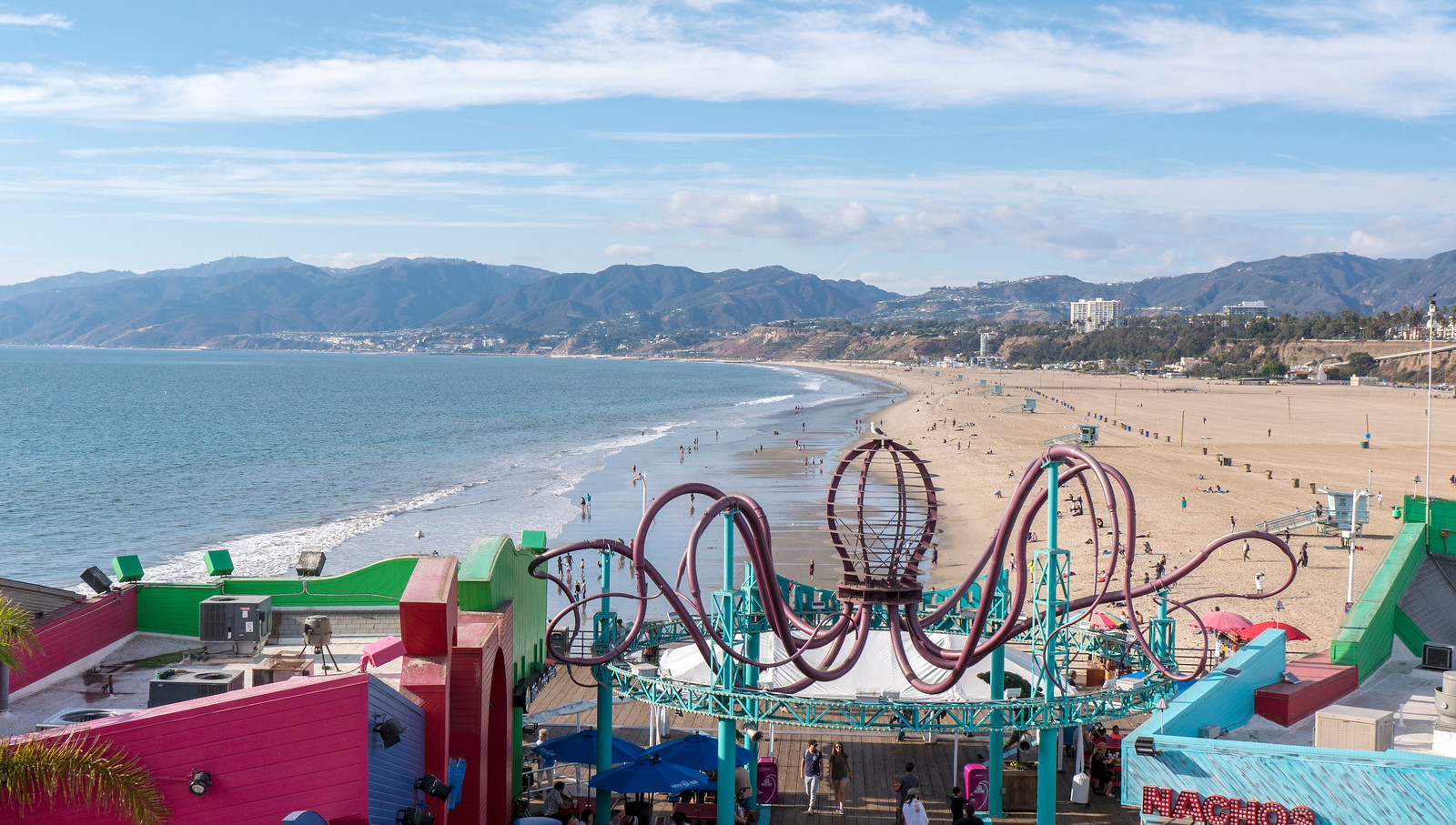 Santa Monica Pier - view from the top of the Ferris Wheel in Los Angeles