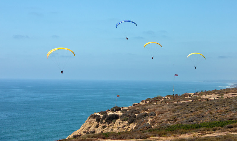 The cliffs by Torrey Pines beach is where the glider port is where hang gliders run off the cliff to catch the updrafts then run parallel to the cliffs out and back and eventually landing again on the grass above the cliffs.