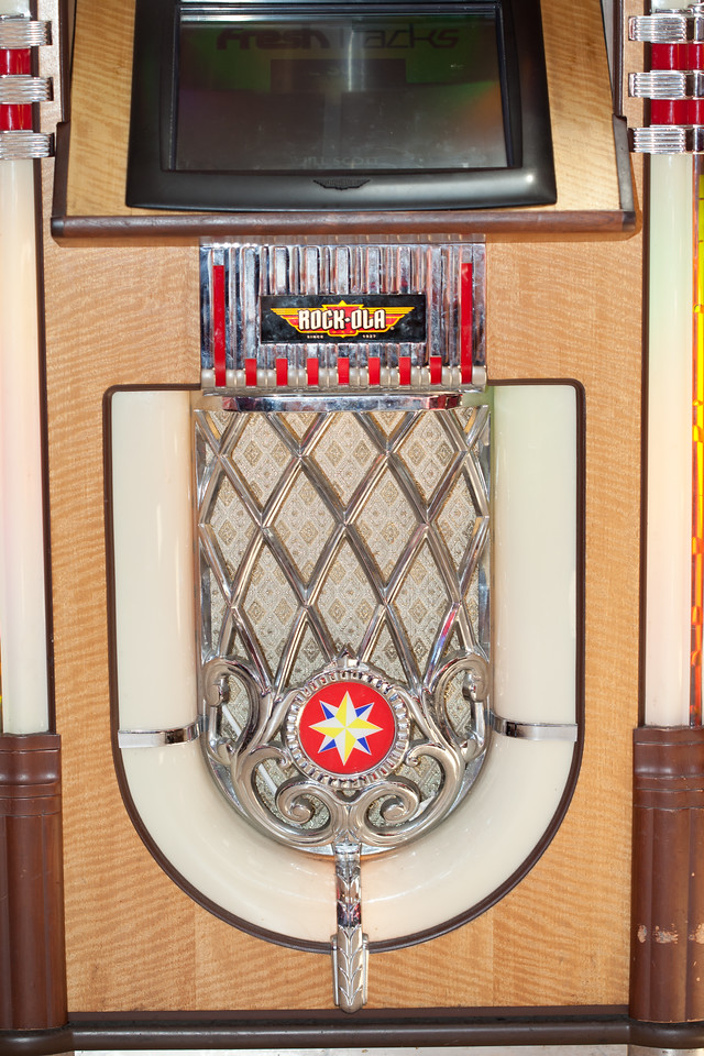 Not sure if this was the jukebox used in the movie.  It's a bit too high tech looking on top but maybe they masked that for the movie or this is not the original.