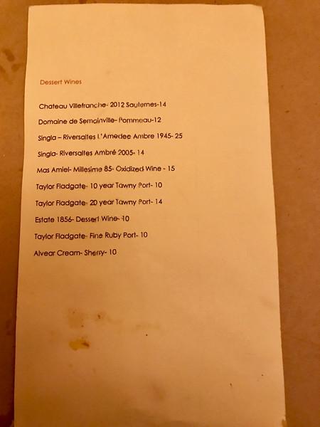 Bistro 29 menu