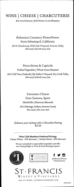 St Francis Winery - Wine, Cheese, Charcuterie menu
