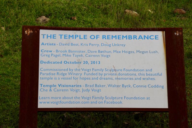 Temple of Rememberance at Paradise Ridge Winery