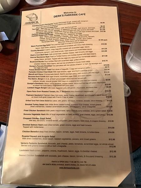 Dierk's Parkside Cafe menu