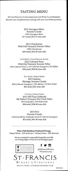 St Francis Winery - Tasting Menu