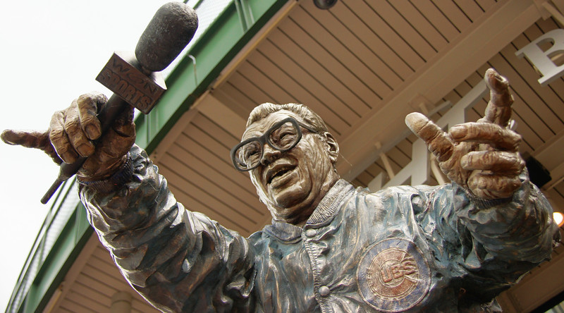 "A statue outside Wrigley Field (home of the Chicago Cubs) of the legendary Harry Caray - Chicago.  Travel photo from Chicago, Illinois - USA. <a href=""http://nomadicsamuel.com"">http://nomadicsamuel.com</a>"