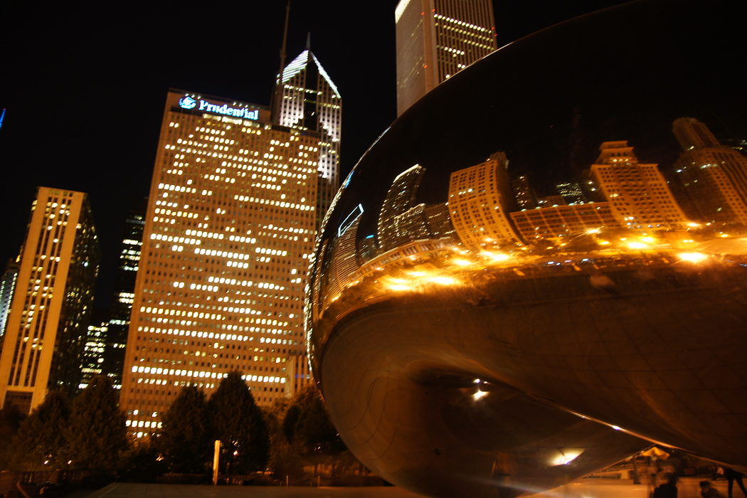 Cloud Gate at Night in downtown Chicago, Illinois