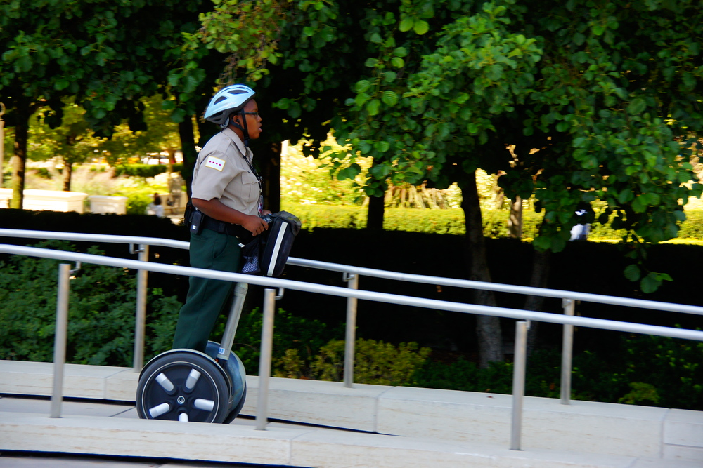 Zipping around the downtown area of Chicago by Segway