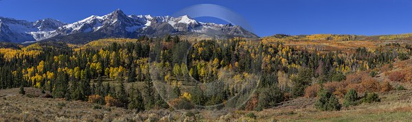 Ridgway Country Road Creek Colorado Mountain Range Autumn Snow Island Fine Art Printer Stock Images - 014428 - 13-10-2014 - 24129x7191 Pixel