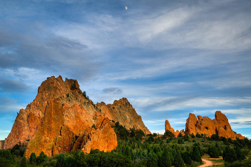 Garden of the Gods with moon