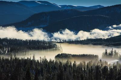Morning mist over Dillon Reservoir, CO