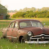 Antique car in a field,  Manfred, North Dakota