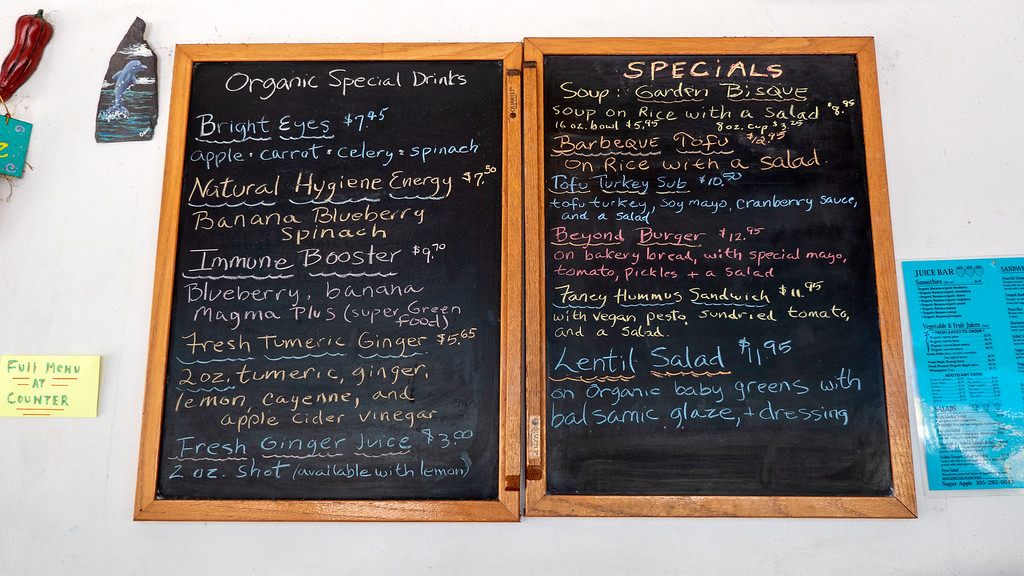 Sugar Apple Organic Cafe and Market in Key West Florida - Vegan Key West - Specials board