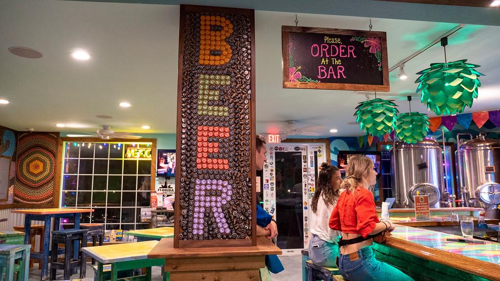 Bottle cap art at Florida Keys Brewing Company - Florida Keys road trip itinerary