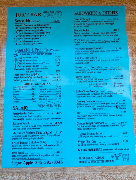 Sugar Apple Organic Cafe and Market in Key West Florida - Vegan Key West - The Menu
