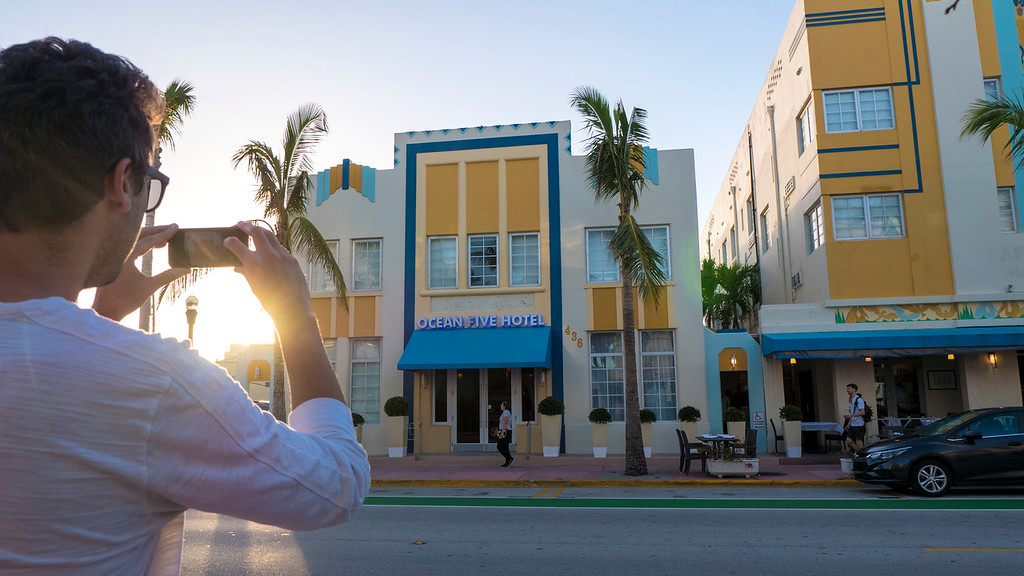 Art deco buildings in Miami Florida