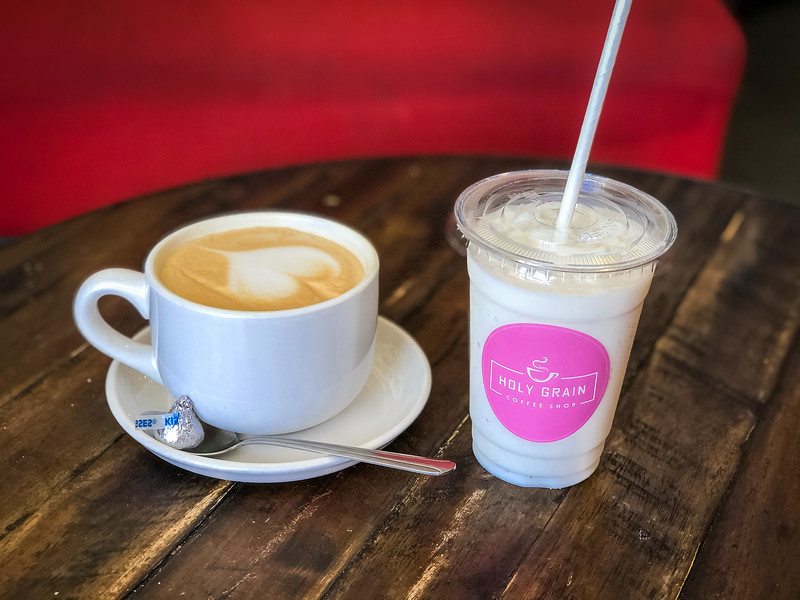 holy grain latte and lavender latte