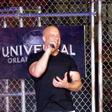 Vin Deisel at the opening of the Fast and Furious Ride