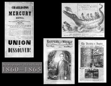 Newspaper front pages during the period of the Civil War.