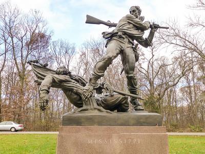 Gettysburg, PA Statue of soldier clubbing flagbearer.