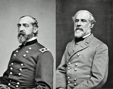 Commanders at the Battle of Gettysburg: George Meade, Union commander and Robert E. Lee, Confederate commander