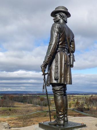 Gettysburg, Maryland This statue of Union General G.K. Warren overlooks the battlefield at Gettysburg National Military Park.