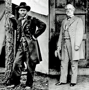 Union General Grant and Confederate General Lee