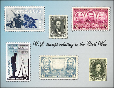 U.S. stamps commemorating the Gettysburg battle and the signing of the surrender agreement at Appomattox. Lincoln stamp was done shortly after his death and the stamp of Jefferson Davis was the first Confederate stamp.
