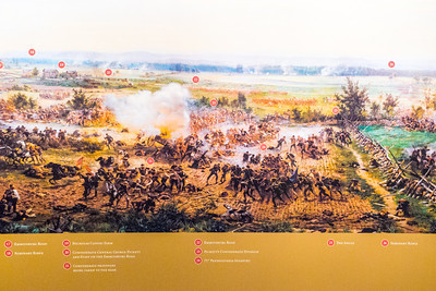 """Gettysburg, PA Detail from the Cyclorama painting """"The Battle of Gettysburg"""" by Paul Philippoteaux (late 1800's)."""