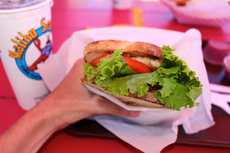 Grilled calimari sandwich from Malibu Seafood