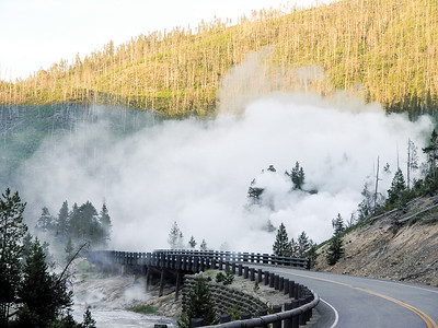 Yellowstone National Park - Early morning steam from the geysers.
