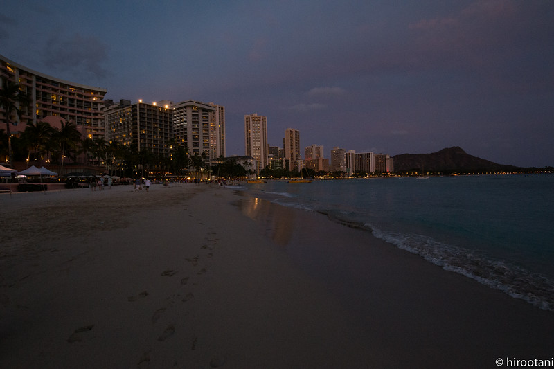 Waikiki Beach after sunset