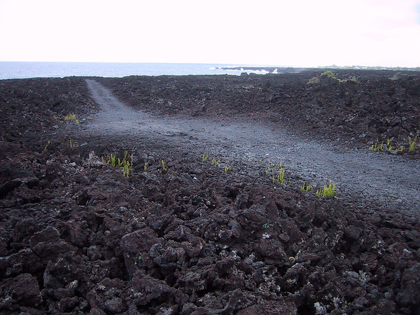 hiking across old lava flows