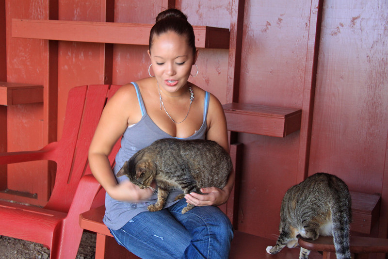 Amanda Shimokawa at the Lana'i Animal Rescue Center