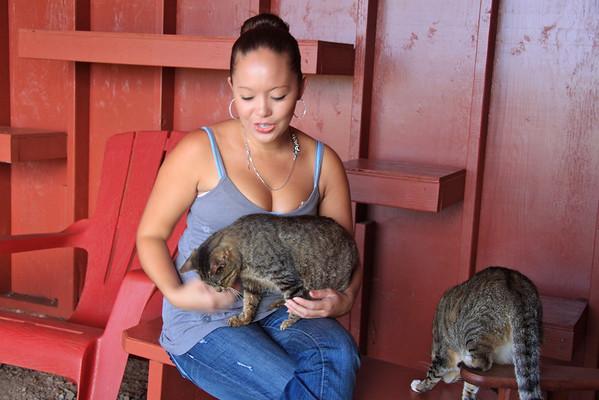 Amanda Shimokawa at the Lana'i Animal Rescue Center