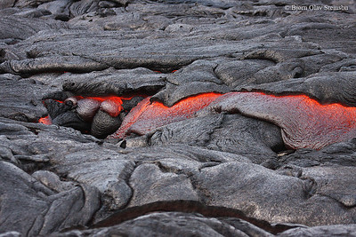Glowing lava flows.