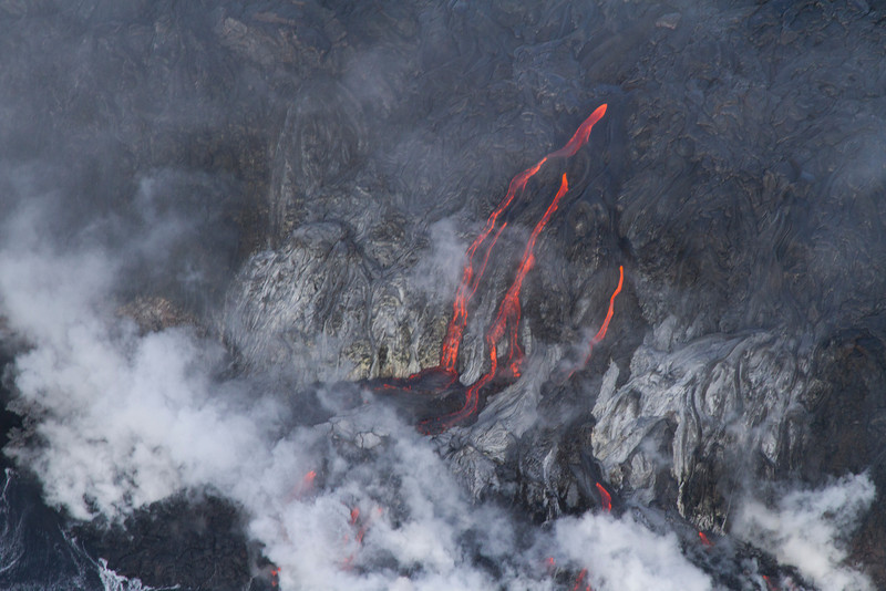 Lava flowing into the sea - from helicopter, Big Island - Jan. 2013