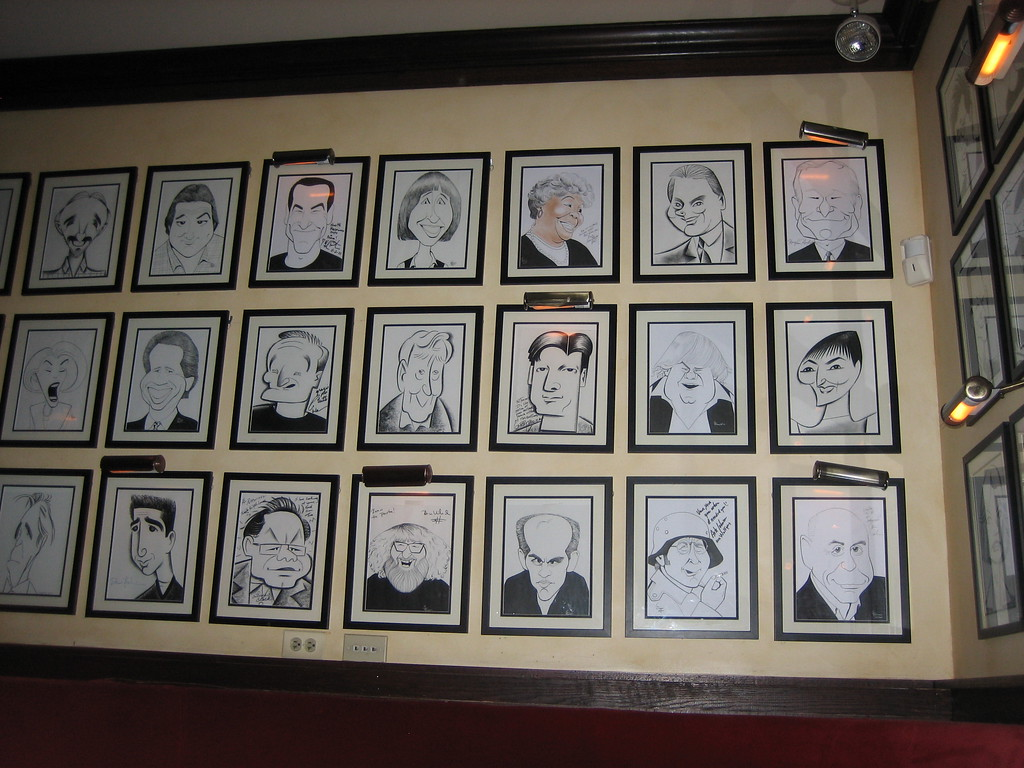 Wall of Caricatures at Petterino's - Chicago, Illinois - Photo